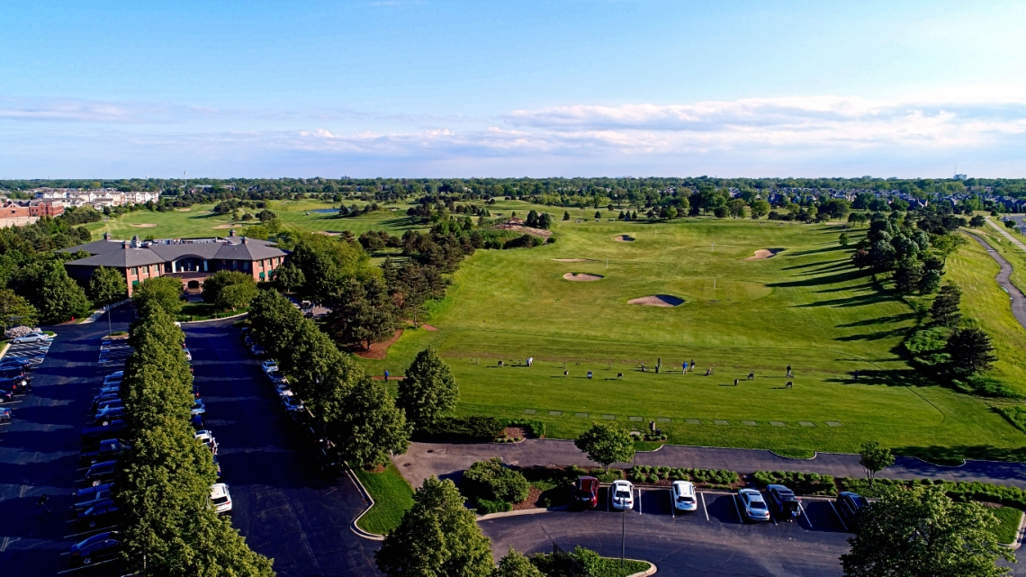 Aerial view of the driving range at The Glen Club